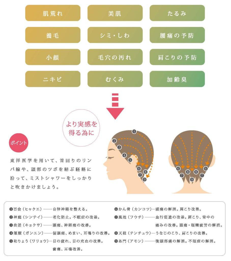 イオン水と炭酸による血流の促進で頭皮以外もサポート